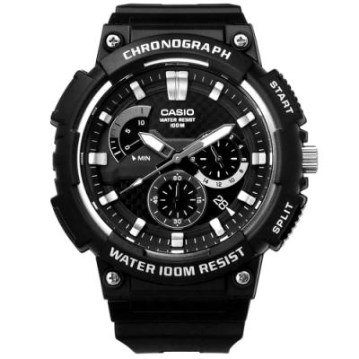 CASIO 卡西歐三針三眼碳纖維紋路防水運動橡膠手錶-黑色/52mm