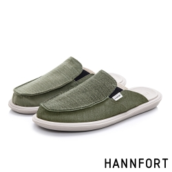 HANNFORT COZY可機洗百搭帆布氣墊拖鞋-男-墨綠