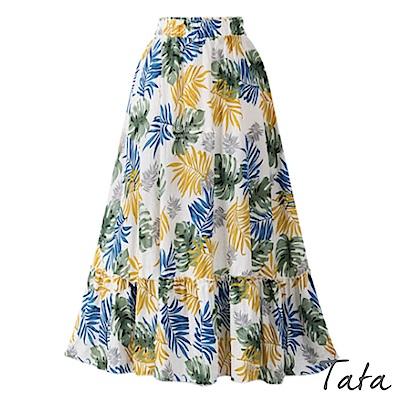 印花荷葉擺八分裙 共二色 TATA