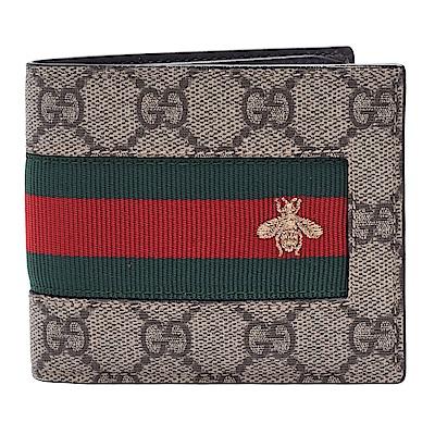 GUCCI 經典GG Supreme緹花布綠紅綠織帶蜜蜂刺繡圖案牛皮襯裡折疊短夾-棕-8卡