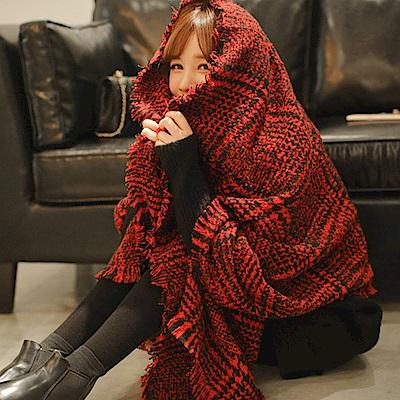梨花HaNA 韓國紅色細緻千鳥格紋交錯圍巾披肩
