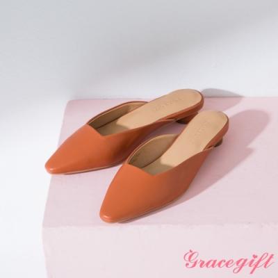 Grace gift-素面方口圓跟穆勒鞋 橘