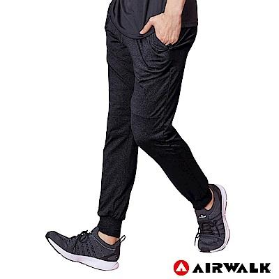 【AIRWALK】男款運動剪接長褲-黑色