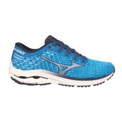 MIZUNO WAVE INSPIRE 17 男慢跑鞋-4E-寬楦 美津濃 J1GC212230 寶藍灰