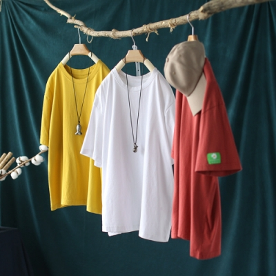 純棉雛菊貼布圓領T恤寬鬆韓版短袖上衣-設計所在