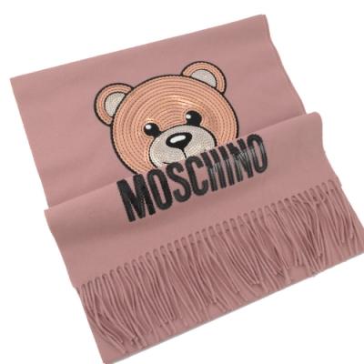 MOSCHINO 亮片小熊圖樣羊毛圍巾(粉)
