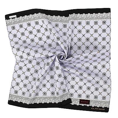 CLATHAS經典山茶花LOGO蕾絲飾邊帕巾-粉紫色