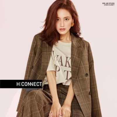 H:CONNECT 韓國品牌 女裝-翻領格紋西裝外套-棕