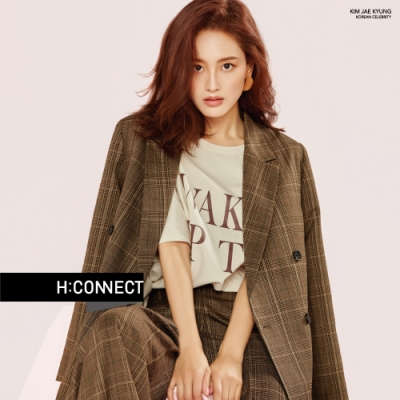 H:CONNECT 韓國品牌 女裝-復古格紋後鬆緊寬褲-棕