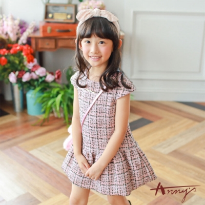 Annys可愛氣質小香風金蔥針織短袖洋裝*7622粉