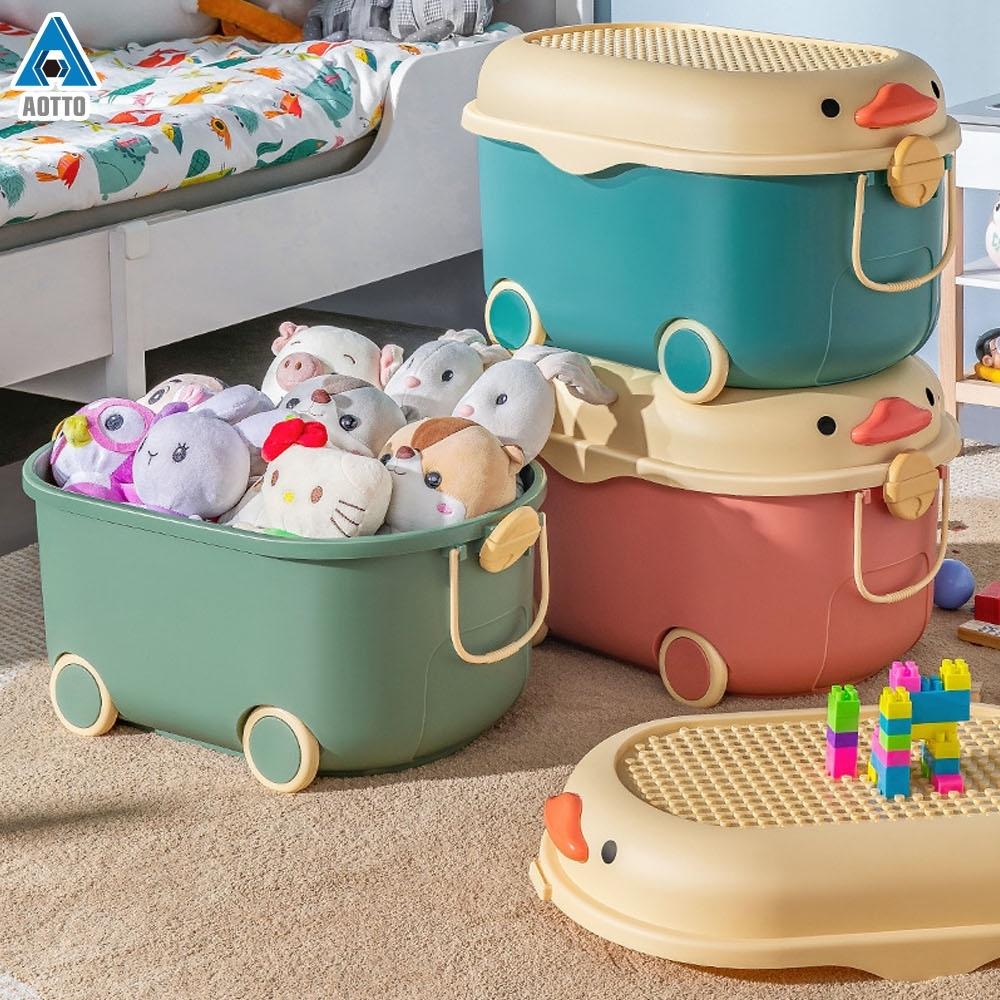 AOTTO 可愛小鴉附輪可移動收納箱-特大款2入(大容量 玩具箱 積木箱)