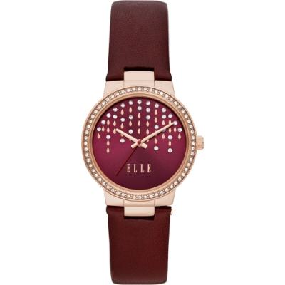 ELLE Bastille 系列流星雨晶鑽女錶-紅x32mm ELL23009