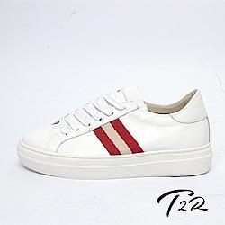 【T2R】全真皮簡約線條綁帶隱形內增高鞋-增高6.5公分-白