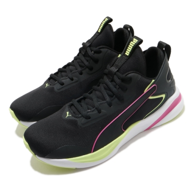 Puma 慢跑鞋 Softride Rift Tech 女鞋 輕量 透氣 舒適 避震 路跑 健身 黑 黃 19374801