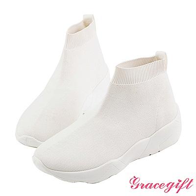 Grace gift-素面織帶低筒襪套鞋 白