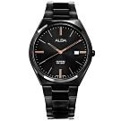 ALBA 輕薄簡約 藍寶石水晶玻璃 日期 不鏽鋼手錶-鍍黑/41mm