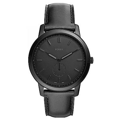 FOSSIL 紳士風尚真皮手錶(FS5447)-黑/44mm