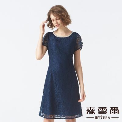 麥雪爾 滿版鏤空蕾絲短洋裝-深藍