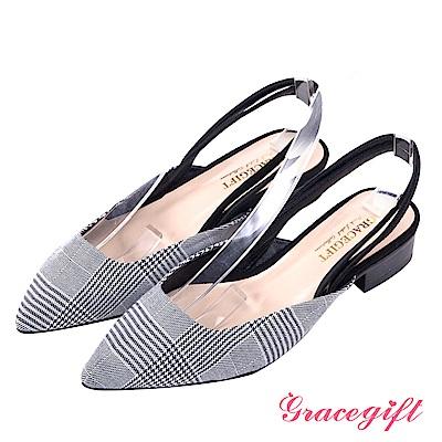 Grace gift-優雅知性尖頭後帶低跟鞋 千鳥格