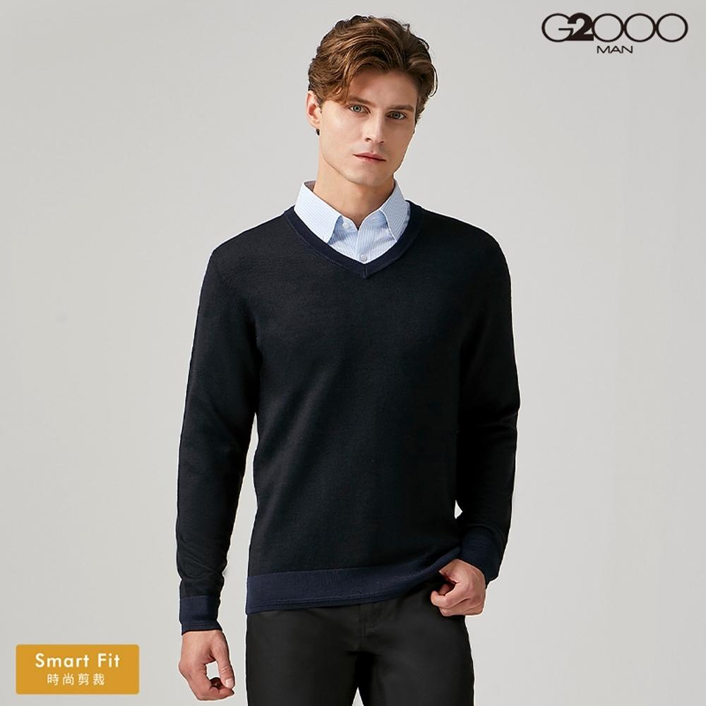 G2000時尚V領素面針織衫-深藍色