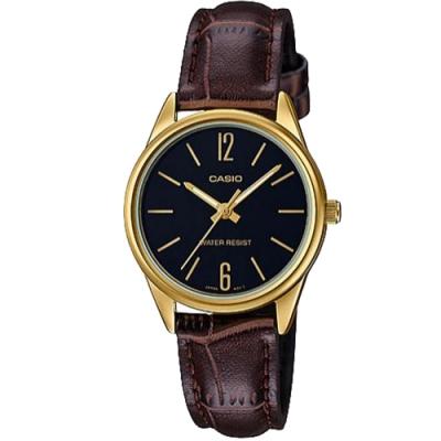 CASIO 文青時尚簡約設計皮革腕錶-黑面(LTP-V005GL-1BUDF)/34mm