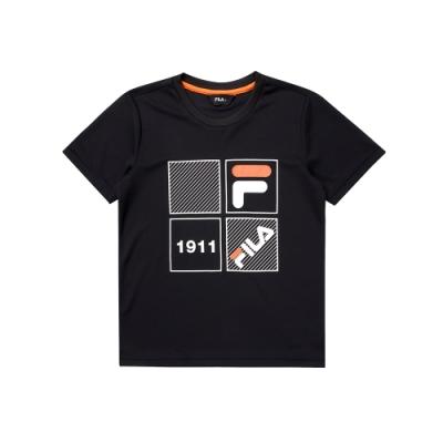 FILA KIDS 童吸濕排汗上衣-黑 1TEU-4906-BK
