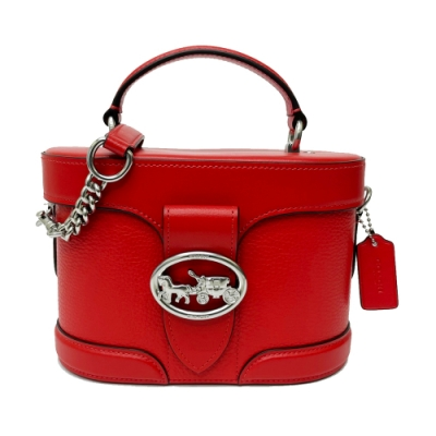COACH 大馬車LOGO硬殼手提斜背兩用化妝包/化妝箱(紅)