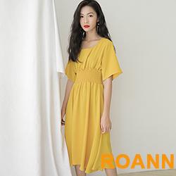 復古純色方領高腰雪紡洋裝 (共二色)-ROANN