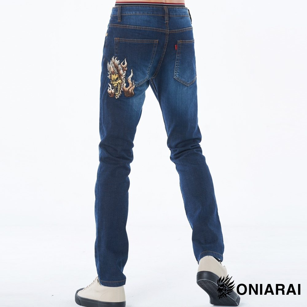 鬼洗 BLUE WAY –  45度火焰爆裂鬼彈性低腰直筒褲