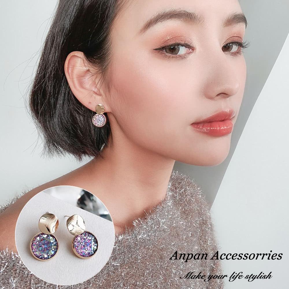 【Anpan 愛扮】韓東大門NYU圓形水鑽925銀針耳釘式耳環-藍紫色