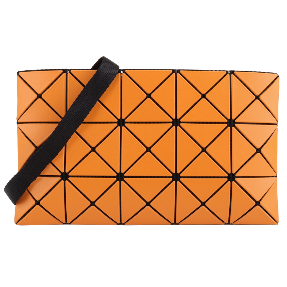 ISSEY MIYAKE  BAOBAO 透光幾何方格3x5斜背扁包(桔橘色)霧面