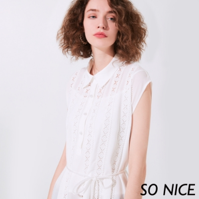 SO NICE優雅襯衫領綁繩上衣