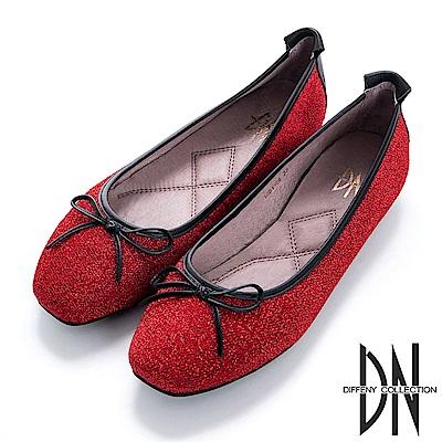 DN 法式優雅 金蔥芭蕾蝴蝶結娃娃鞋-紅