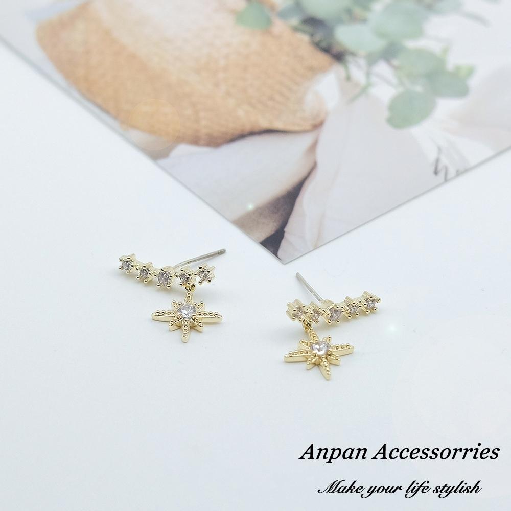 【ANPAN愛扮】925銀針韓東大門耀眼北斗星微鑲鑽石耳環