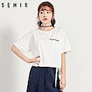 SEMIR森馬-胸前眨眼圖案後蝴蝶結短版T恤-女(2色)