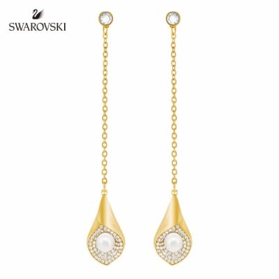 施華洛世奇 Modest 淡金色馬蹄蘭花瓣造型穿孔耳環