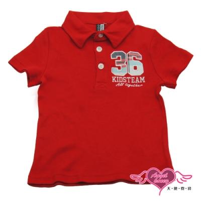【天使霓裳-童裝】運動球員36號 潮流短袖Polo衫(紅)