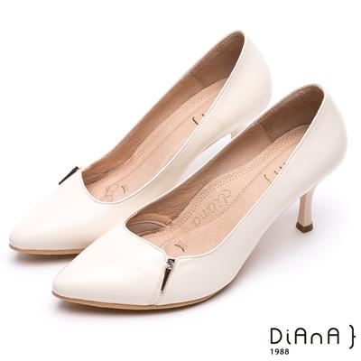 DIANA 漫步雲端焦糖美人款--水鑽金屬釦尖頭跟鞋 –米