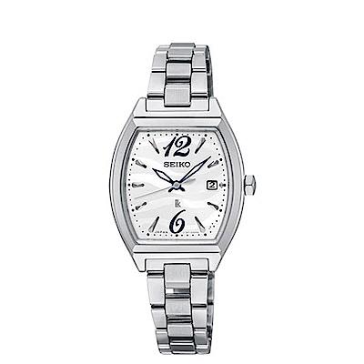 SEIKO 精工LUKIA 太陽能指針酒桶腕錶-銀SUT359J1