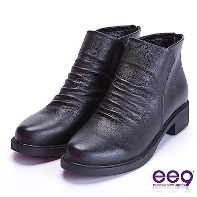 ee9 自然抓皺素面粗跟百搭踝靴 黑色