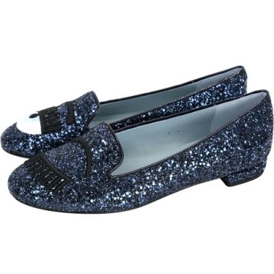 Chiara Ferragni 深藍色刺繡眨眼亮片樂福鞋-36號(展示品)