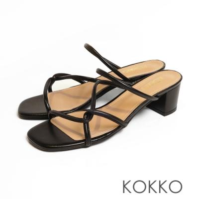 KOKKO-清潭洞之戀細條方頭粗跟涼鞋 - 溫柔黑