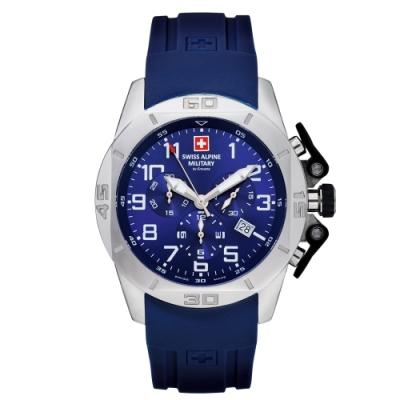 瑞士阿爾卑斯軍錶S.A.M 龍捲風系列-橡膠錶帶/三眼計時/藍色錶盤/45mm