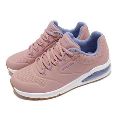Skechers 休閒鞋 Uno 2-2nd Best 女鞋 街頭時尚 氣墊 支撐緩衝 耐用 皮革 粉 藍 155542MVE