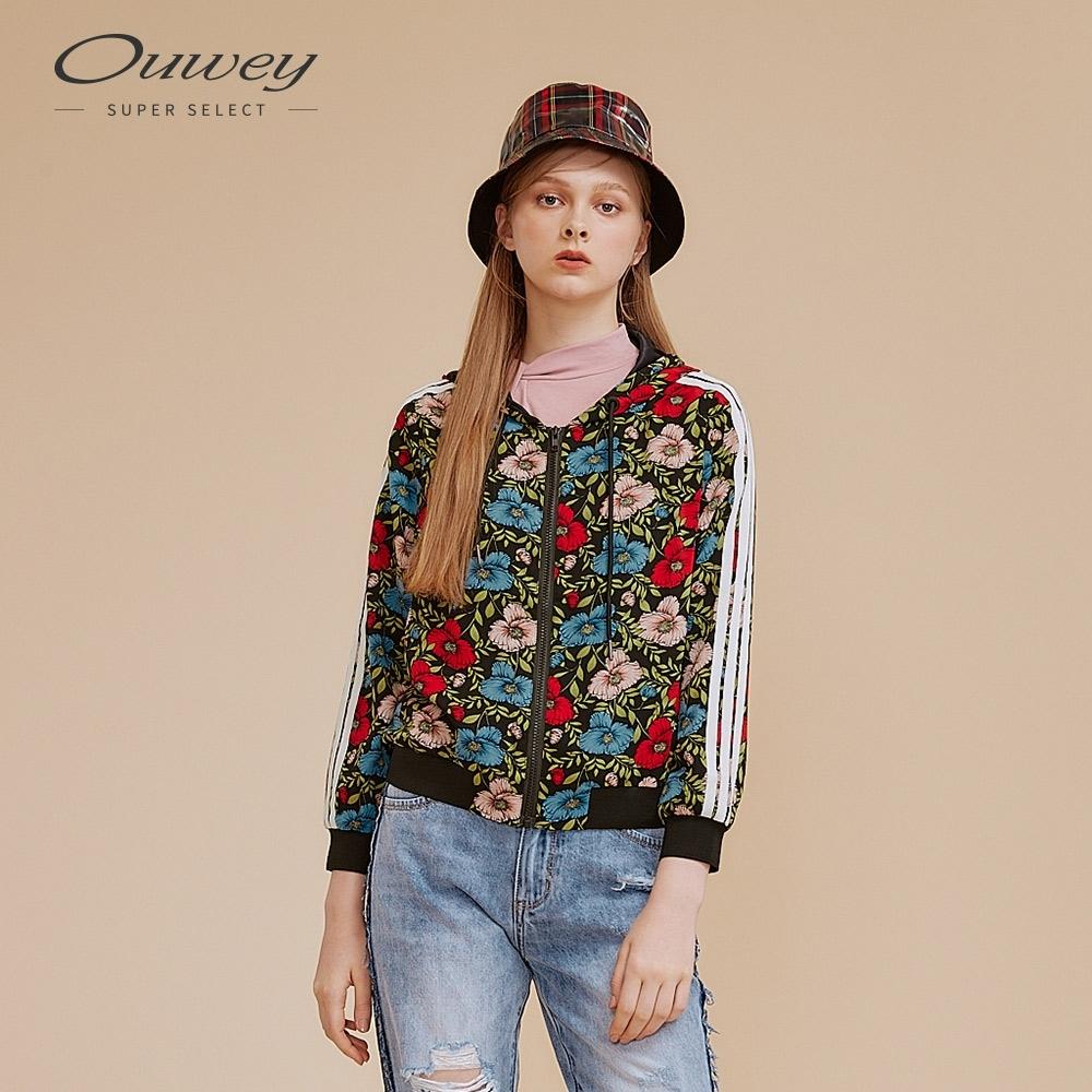 OUWEY歐薇 運動風織帶印花連帽外套(黑)
