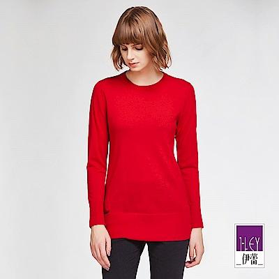 ILEY伊蕾 純色圓領羊毛針織上衣體驗價商品(黑/水/藍/紅/桃/鐵灰)