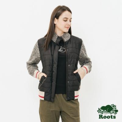 女裝ROOTS - 溫馨佳節異材質拼接夾克- 灰
