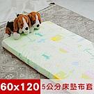 米夢家居-夢想家園-冬夏兩用精梳純棉+紙纖蓆面5cm嬰兒床墊換洗布套60X120cm青春綠