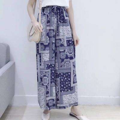 La Belleza鬆緊腰方格小花圖騰印花超寬闊腿寬鬆褲裙