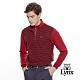 【Lynx Golf】男款日本東洋紡假兩件式條紋長袖立領POLO衫-紅色 product thumbnail 2